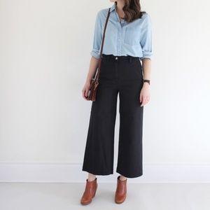 Everlane Wide Leg Crop Pant Jeans Black Size 00